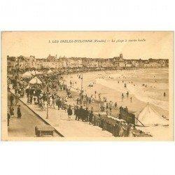 carte postale ancienne 85 LES SABLES D'OLONNE. La Plage à Marée haute 1922