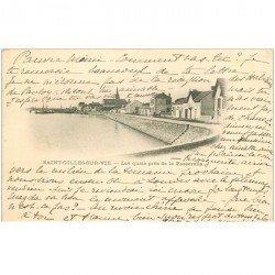 carte postale ancienne 85 SAINT GILLES CROIX DE VIE. Quais près de la Passerelle 1902