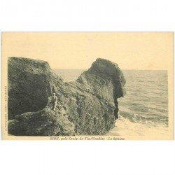 carte postale ancienne 85 SION. Les Rochers le Sphinx petite animation
