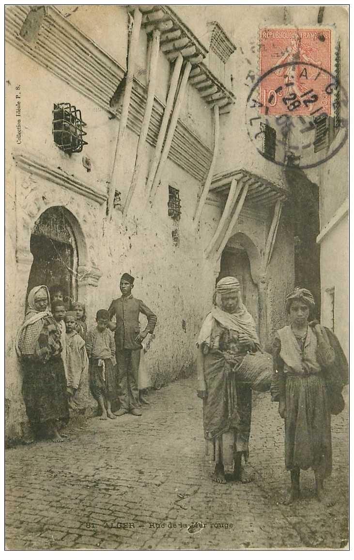 carte postale ancienne ALGER. Rue de la Mer Rouge 1905.