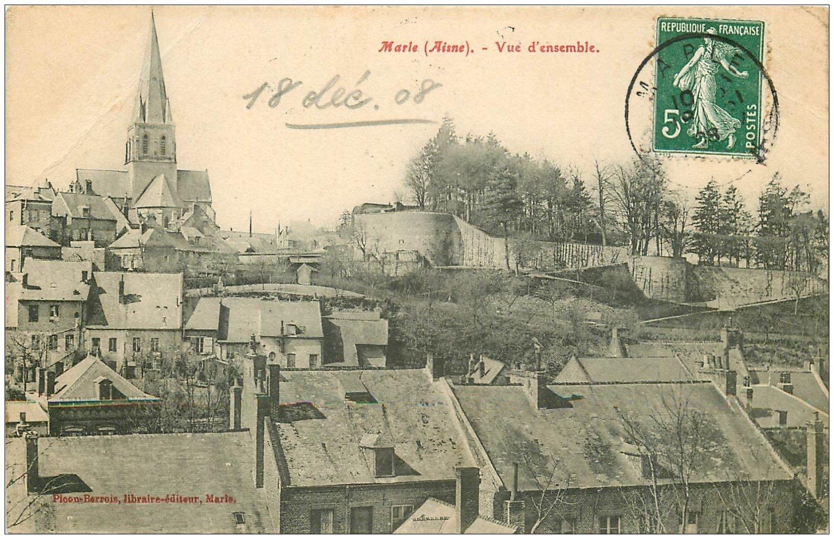 carte postale ancienne 02 MARLE. Vue d'ensemble 1908