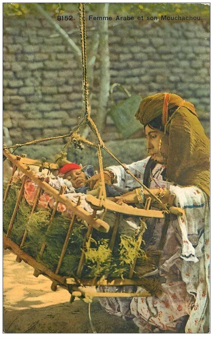 carte postale ancienne Algérie. Femme Arabe et son Mouchachou