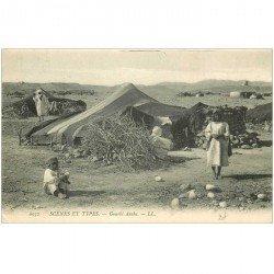 carte postale ancienne ALGERIE. Gourbi Arabe 1909