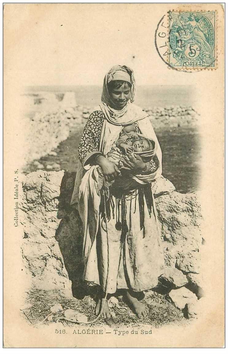 carte postale ancienne ALGERIE. Jeune Mère et son enfant du Sud 1906