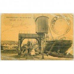 carte postale ancienne Algérie. PHILIPPEVILLE. Un coin des Quais 1915 (défauts)...