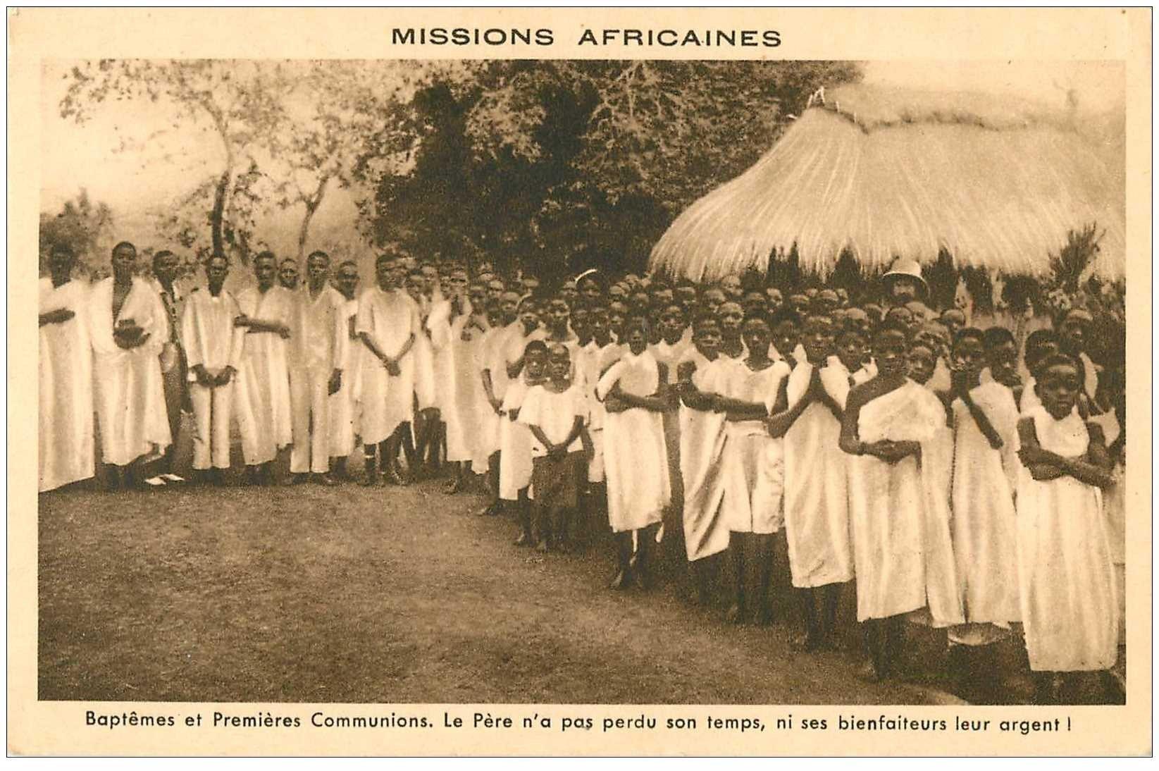 carte postale ancienne COTE D'IVOIRE. Baptêmes et Premières Communions Missions Africaines