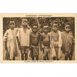 carte postale ancienne COTE D'IVOIRE. Les Petits protégés des Missions Africaines vous saluent