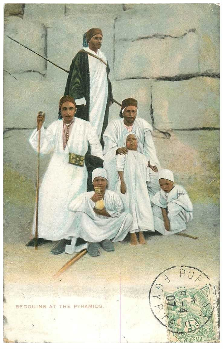 carte postale ancienne EGYPTE. Bedouins at the Pyramids 1907