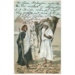 carte postale ancienne EGYPTE. Bedouins in the Desert avec Chameaux