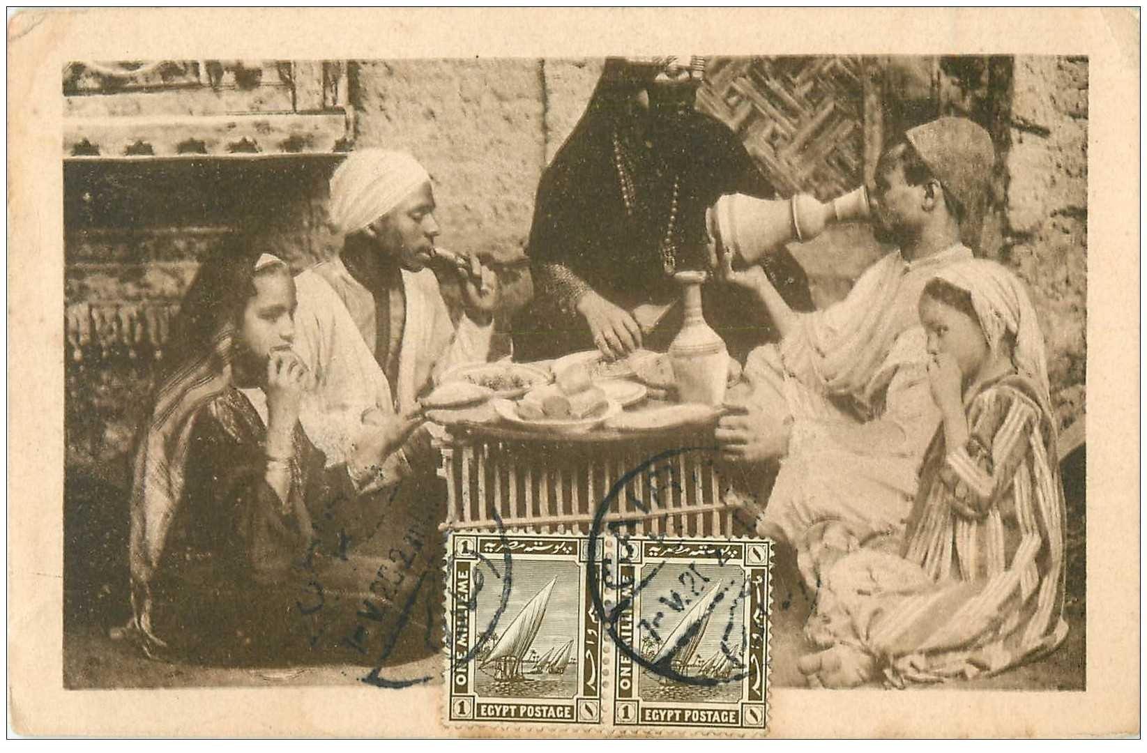 carte postale ancienne EGYPTE. Dîner en Famille 1923 tampon Héliopolis au verso