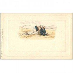 carte postale ancienne EGYPTE. La Prière dans le Désert avec Dromadaire. Carte de luxe vers 1900
