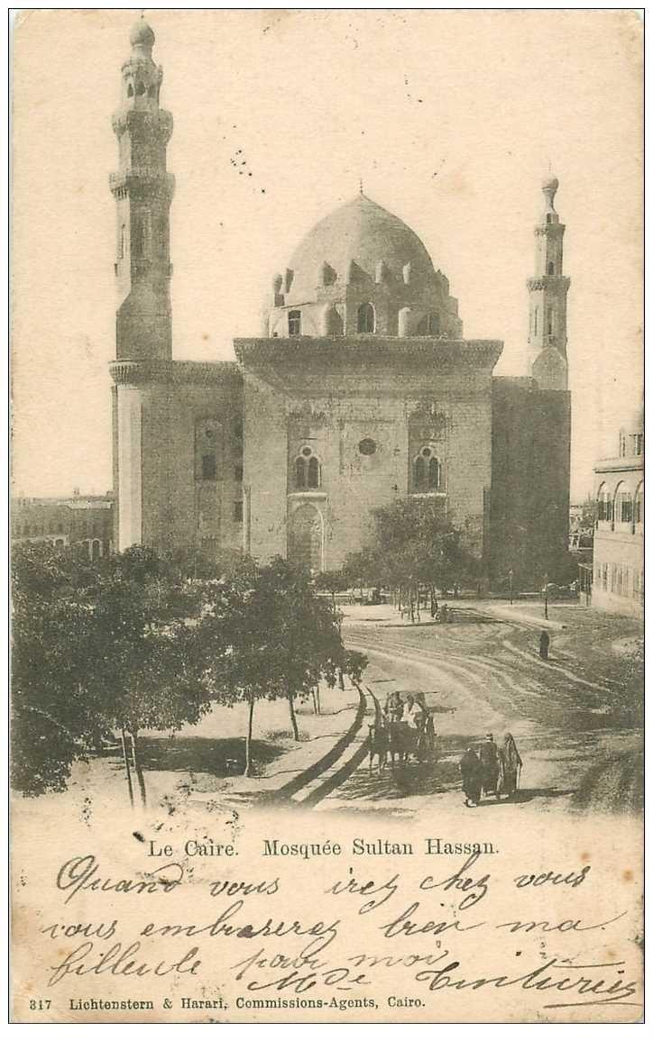carte postale ancienne Egypte. LE CAIRE CAIRO. Mosquée Sultan Hassan 1903