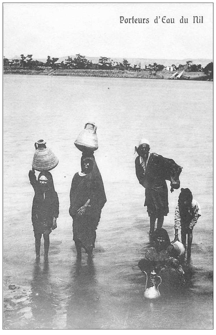 carte postale ancienne Egypte. Porteurs d'eau du Nil