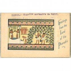 carte postale ancienne Egypte. THEBES. Chapelle mortuaire de Nakht Pharaon. Dessin précollé sur carte