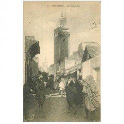 carte postale ancienne MAROC. Fez Djedid. La Grande Rue 1925