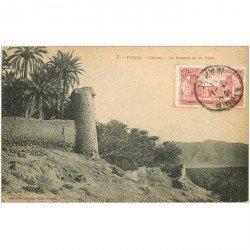 carte postale ancienne Maroc. FIGUIG. Zenaga. Le Rocher et la Tour 1924