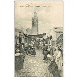 carte postale ancienne Maroc. RABAT. Souk aux cuirs 1921