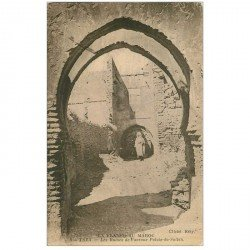 carte postale ancienne Maroc. TAZA. Ruines Avenue Palais du Sultan