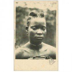 carte postale ancienne GABON. Jolie Femme Congolaise 1908