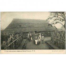 carte postale ancienne GUINEE. Une école primaire indigène