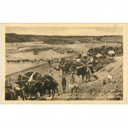 carte postale ancienne Tunisie. Caravane en marche du Caïd Ben Ganah