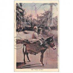 carte postale ancienne Tunisie. Retour au Bled sur un ne 1932