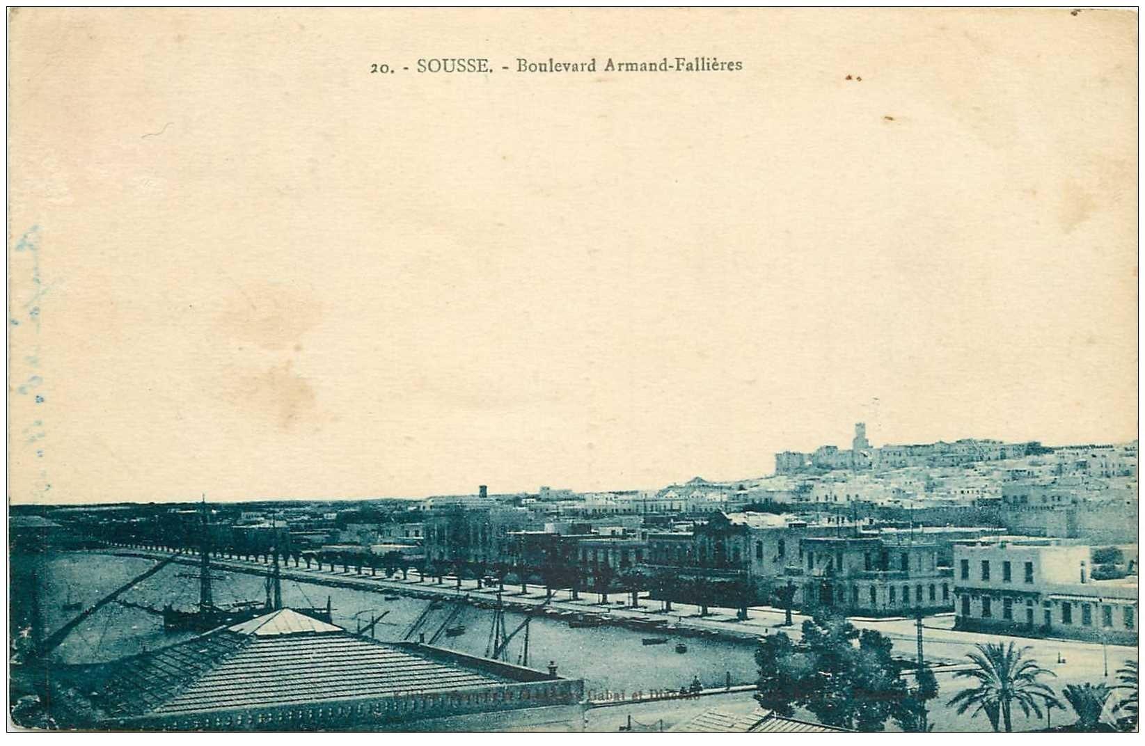 carte postale ancienne Tunisie. SOUSSE. Boulevard Armand Fallières. Timbre manquant