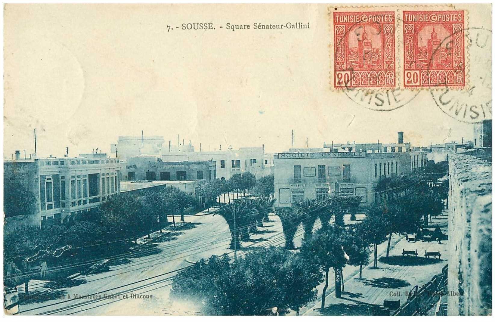 carte postale ancienne Tunisie. SOUSSE. Square Sénateur Galliéni 1934