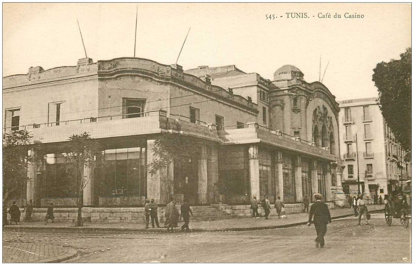 carte postale ancienne TUNISIE. Tunis. Café du Casino
