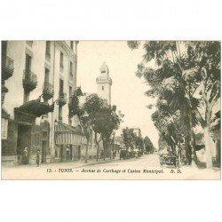 carte postale ancienne Tunisie. TUNIS. Casino Municipal Avenue de Carthage avec voiture ancienne