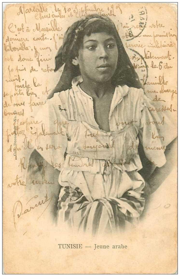 carte postale ancienne Tunisie. Une Jeune Arabe 1905