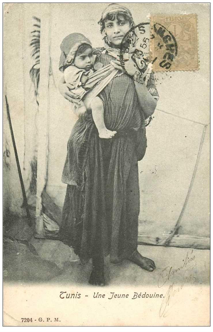 carte postale ancienne Tunisie. Une Jeune Bédouine et son Enfant 1905