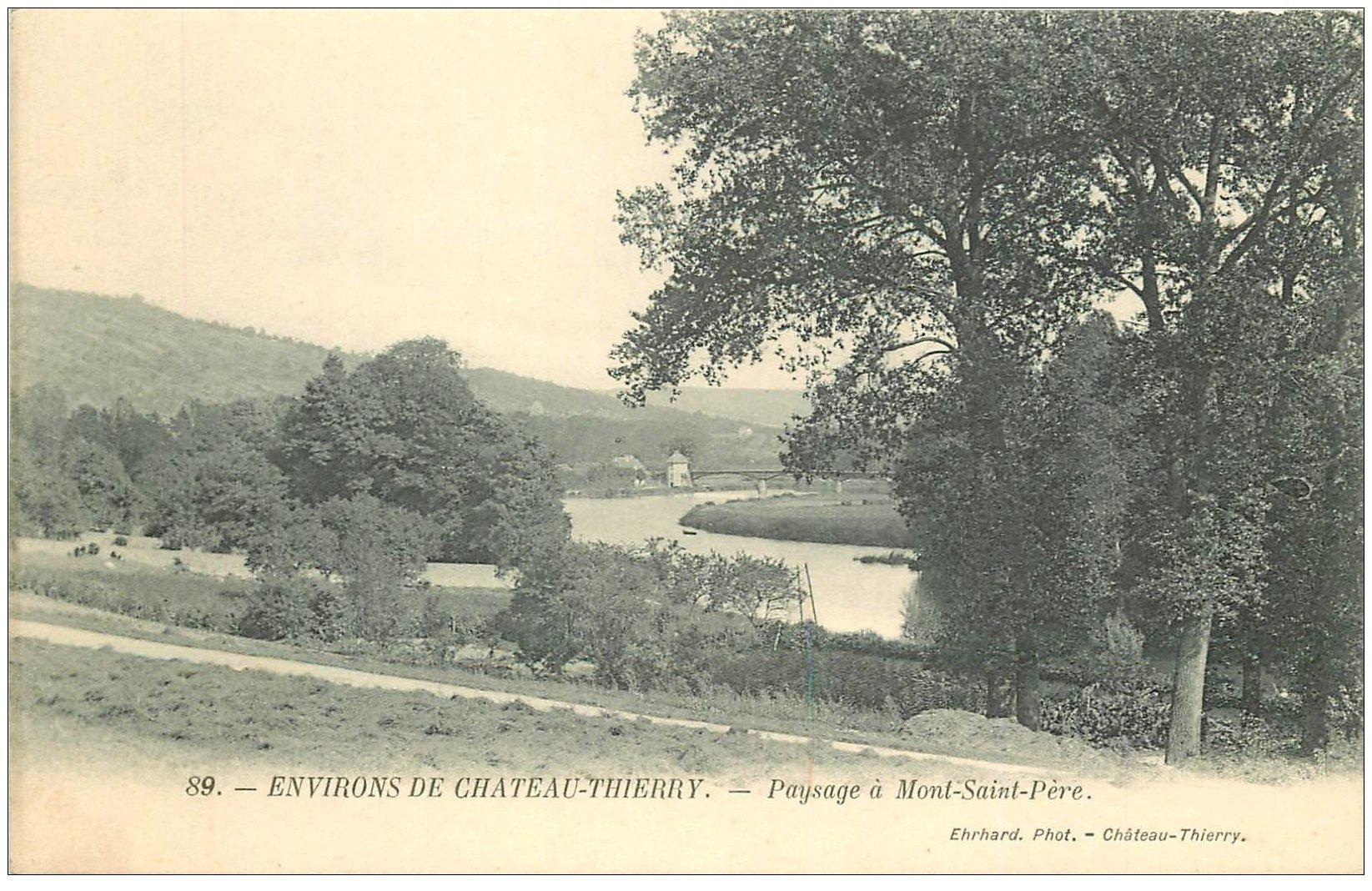 carte postale ancienne 02 MONT-SAINT-PERE. Paysage Carte Pionnière vers 1900 vierge