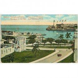 carte postale ancienne CUBA. Entrada al Puerto Parque Luz Caballero 1925
