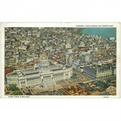 carte postale ancienne CUBA. Habana vista desde un Aeroplano. View from Airplane 1937