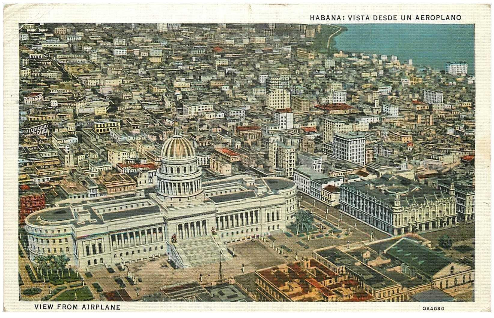 carte postale ancienne CUBA. Habana vista desde un Aeroplano. View from Airplane 1937