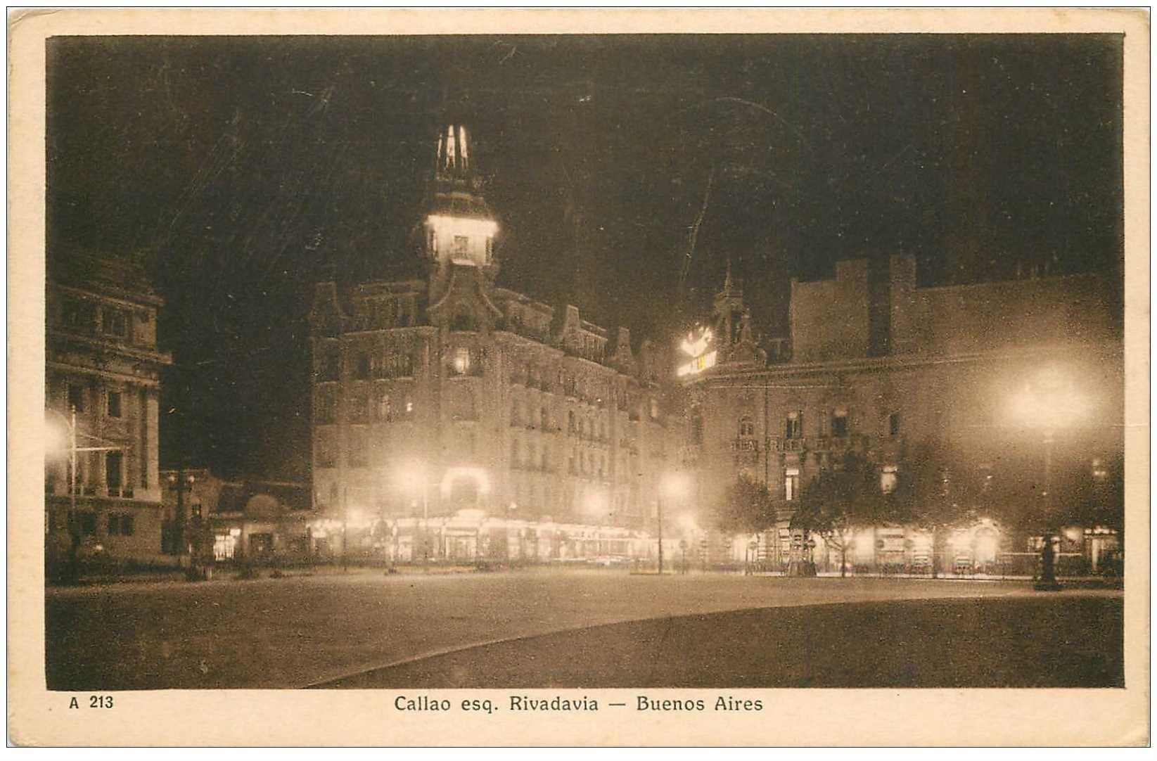 carte postale ancienne ARGENTINE. Buenos Aires. Callao esq. Rivadavia