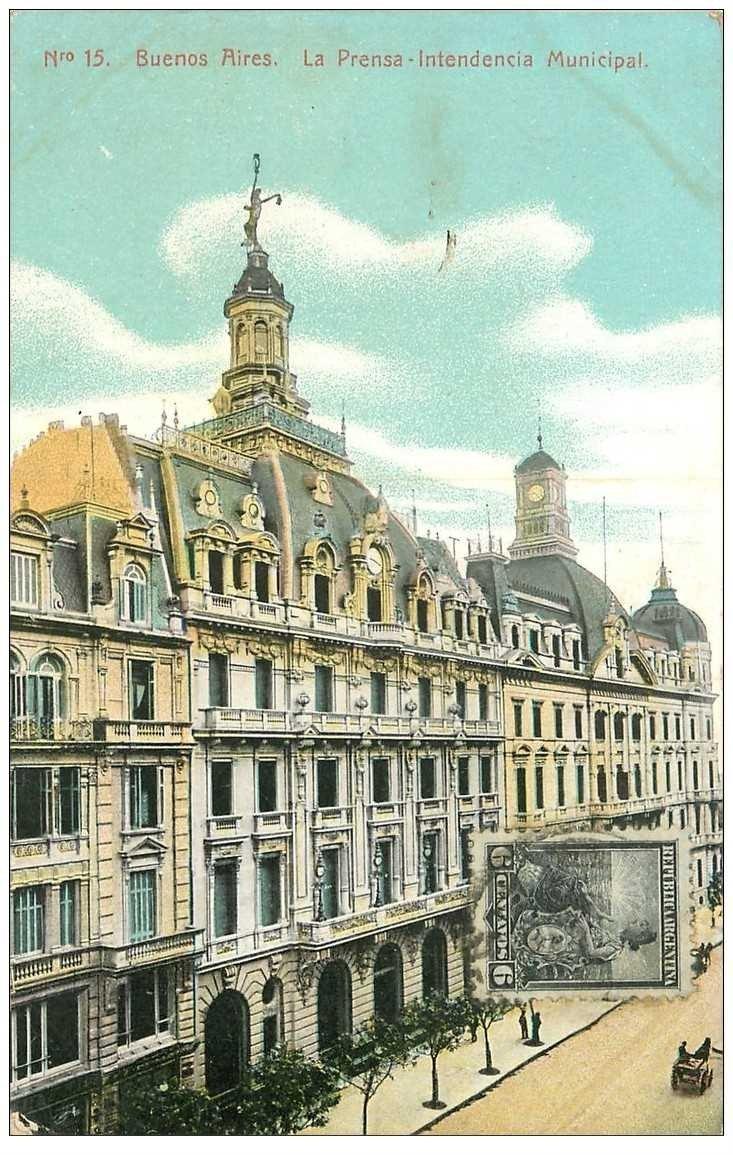 carte postale ancienne ARGENTINE. Buenos Aires. La Prensa Intendencia Municipal 1908