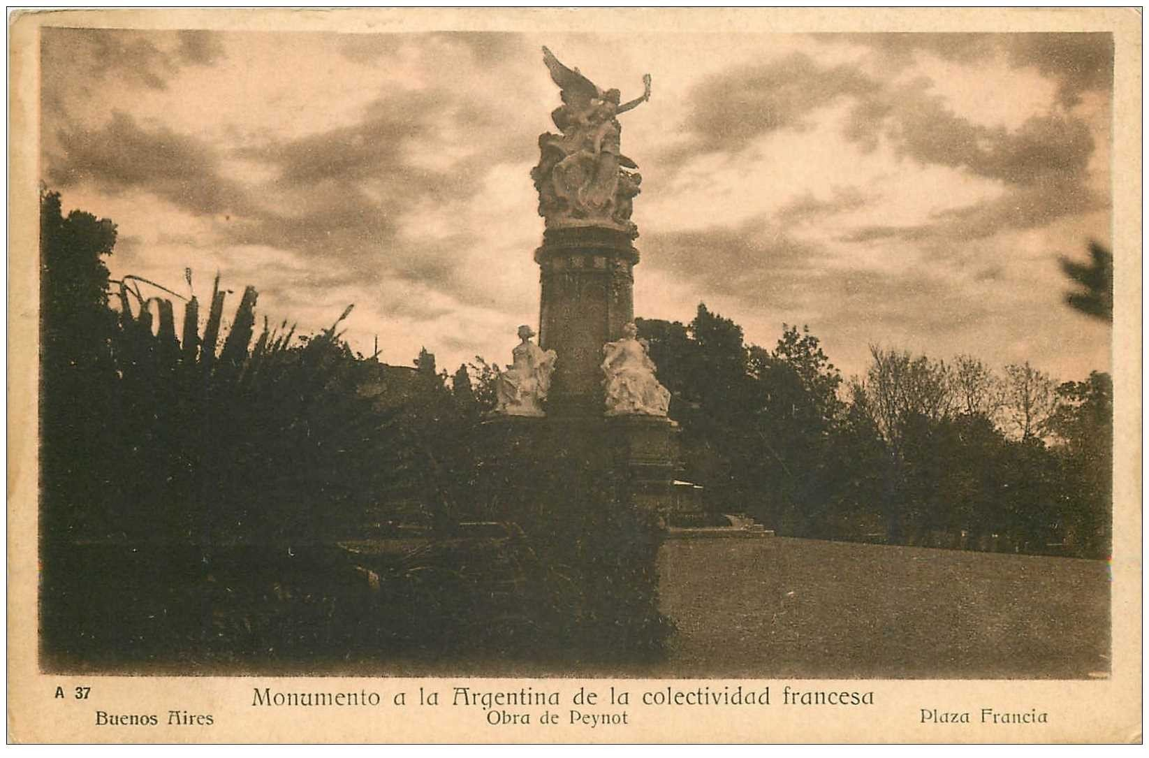 carte postale ancienne ARGENTINE. Buenos Aires. Monumento de la colectividad francesa