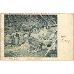 carte postale ancienne ARGENTINE. Fileuses Indiennes dans leur Case. Top rare... écrite à Ferry Léon vers 1900