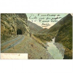 carte postale ancienne ARGENTINE. Tunel de Cacheuta 1907