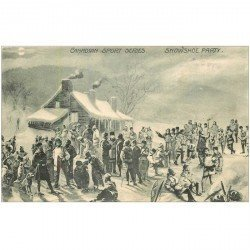 carte postale ancienne CANADA. Canadian Sports séries. Snowshoe party