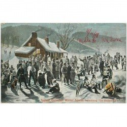 carte postale ancienne CANADA. Typical Canadian Winter Sports. Snowshoing the Rendez vous 1907
