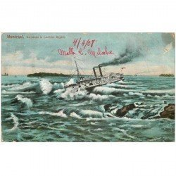 carte postale ancienne MONTREAL. Corsican in Lachine Rapids 1908. Etat moyen...