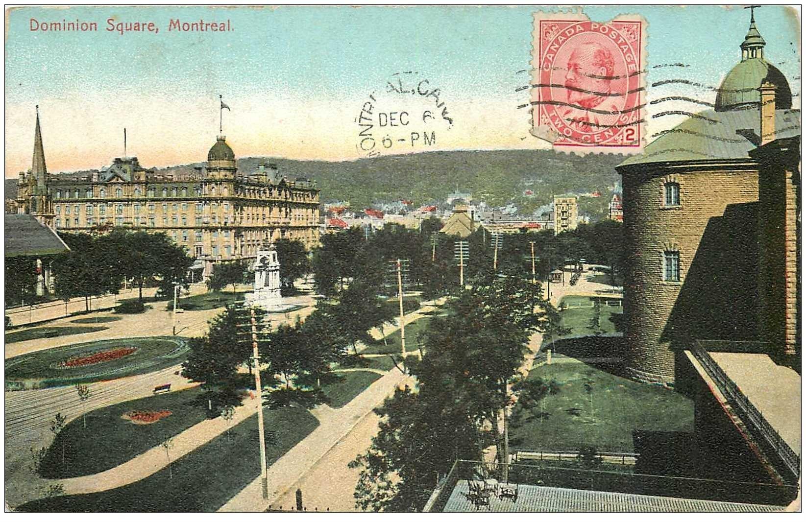 carte postale ancienne MONTREAL. Dominion Square 1908