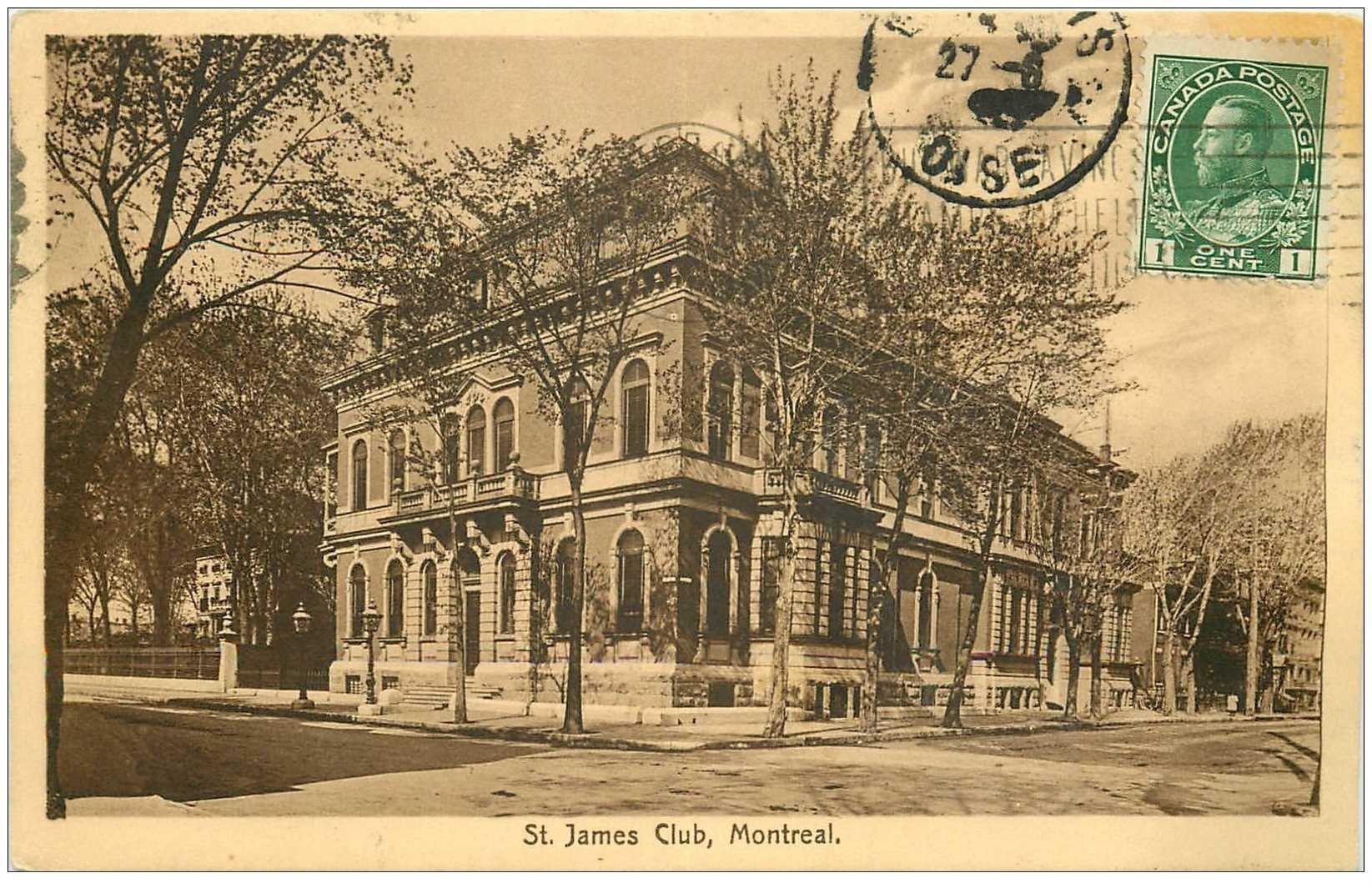 carte postale ancienne MONTREAL. Saint James Club 1919