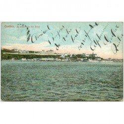 carte postale ancienne QUEBEC. As seen from the River 1906 rare la mer comporte de véritables paillettes