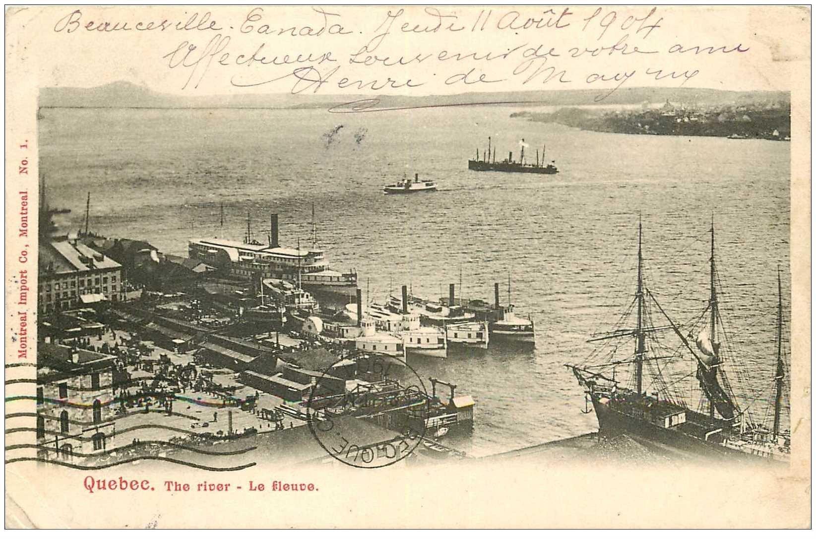 carte postale ancienne QUEBEC. Le Fleuve the River 1904