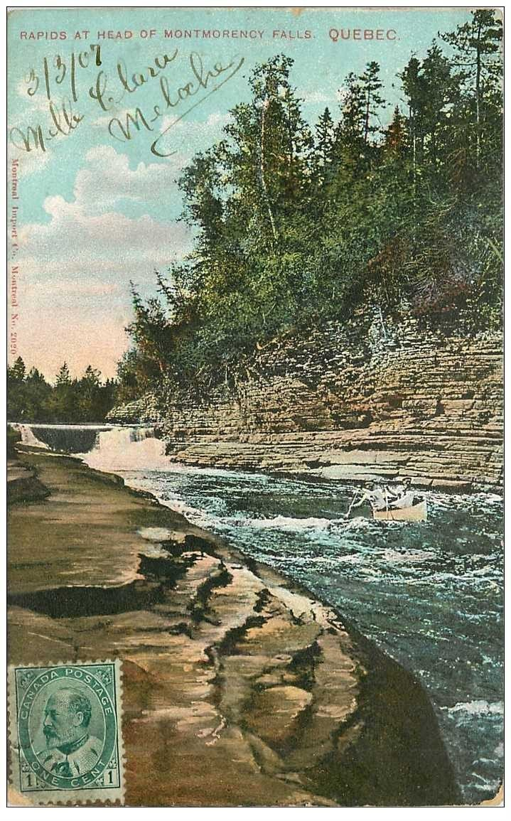 carte postale ancienne QUEBEC. Rapids at Head of Montmorency Falls 1907