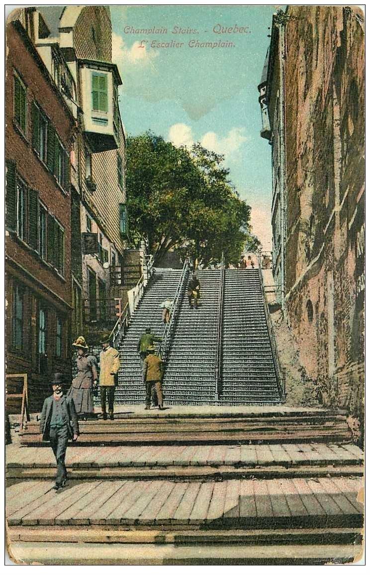quebec stairs escalier champlain 1912. Black Bedroom Furniture Sets. Home Design Ideas